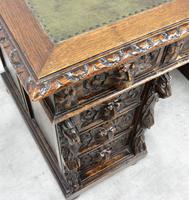 Small Carved Oak Green Man Desk (3 of 10)