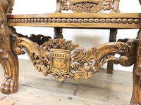 Large Carved Wooden Lion Throne Chair (4 of 10)