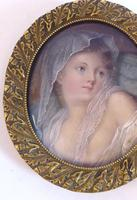 After Jean-Baptiste Greuze - Fine Gilt Mounted Portrait Miniature 19th Century (3 of 6)