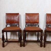 4 Carved Oak Leather Dining Chairs (2 of 12)