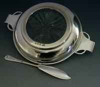 Art Deco English Solid Sterling Silver & Glass Butter Dish 1936 / 37 (6 of 12)