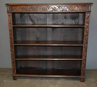 Victorian Carved Oak Open Bookcase (2 of 3)