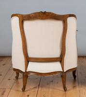 Large French Louis XV Style Walnut Bergere Upholstered Armchair (3 of 11)