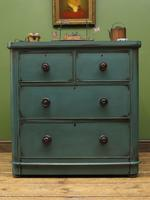 Antique Small Green Painted Chest of Drawers, Bohemian Peacock Green Shabby Chic (16 of 16)