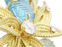 12.5ct Aquamarine & 0.62ct Diamond, 18ct Yellow Gold Brooch - Vintage c.1960 (2 of 9)