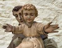 Exceptional Early 1900's Signed 39'' Carved Sculpture Statue St Anthony & Jesus (11 of 18)