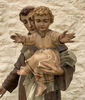 Exceptional Early 1900's Signed 39'' Carved Sculpture Statue St Anthony & Jesus (7 of 18)