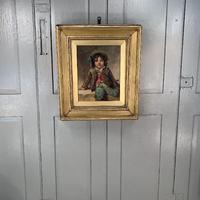 Antique Victorian oil painting portrait of young boy in hat signed JW Roberts 1887 (2 of 10)