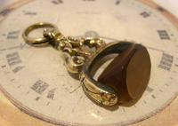 Antique Pocket Watch Chain Fob 1870s Victorian Huge Brass & Amber Stone Swivel Fob (5 of 10)