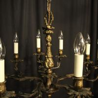French Gilded Brass 10 Light Antique Chandelier (6 of 10)