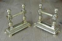 Quality Pair of Victorian Brass Fire Dogs Fire Iron Rests Andirons c.1890