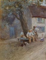 Tom Lloyd Watercolour 'Resting Outside The Inn' (2 of 4)
