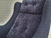 Danish Swivel Armchair with Stool, Completely Renovated-reupholstered, Furniture Wool, Retro Velor, 70s (4 of 17)