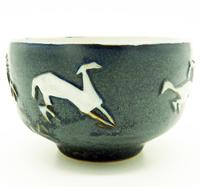 Good British Art Studio Pottery Bowl with Stylised Galloping Horses 20th Century (4 of 8)