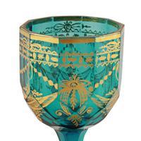 Pair of Georgian Gilded Green Wine Glasses (3 of 8)