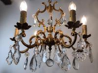 Antique French Large & Heavy Chandelier Gilt Bronze Ceiling Light with Crystal Droplets (3 of 7)