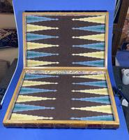 Edwardian French Leather Double book box with Backgammon set to the inside (6 of 14)