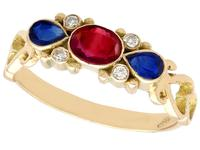 0.50ct Ruby, 0.32ct Sapphire & Diamond, 18ct Yellow Gold Dress Ring - Vintage c.1940