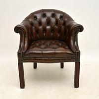 Antique Leather Armchair / Desk Chair (2 of 9)