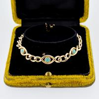 Antique Turquoise Curb Link 15ct Gold Bracelet Edwardian Victorian (3 of 8)