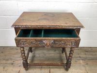 Antique Oak Carved Green Man Side Table (7 of 10)