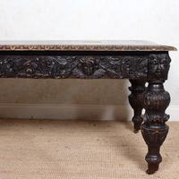 Carved Oak Desk Library Table Gothic Jacobean Large 19th Century (3 of 18)