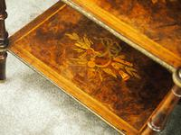 Pair of Victorian Marquetry Burr Walnut Etageres (7 of 12)