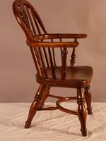 Rare Childs Yew Wood Windsor Stamped Fred Walker (3 of 10)