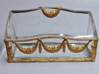 19thc Antique French Gilt Bronze Ormolu & Cut Crystal Desk Set - Letter Rack Holder, Pen / Note Tray & Pot (8 of 17)