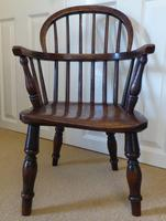 Victorian Ash & Elm Wood Childs Windsor Chair c.1840 (2 of 14)