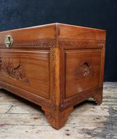 Early 20th Century Oriental Carved Teak and Camphor Wood Chest (6 of 12)