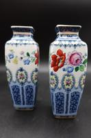 Pair of Early 20th Century Losol Ware Miniature Square Section Vases (2 of 6)