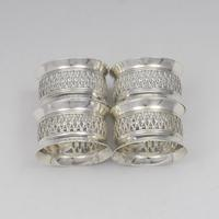 Cased Set 4 Victorian Silver Napkin Rings Nautical / Fishing Theme (6 of 10)