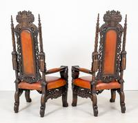 Superb Pair of Oak Throne Chairs (11 of 14)