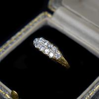 Antique Old Cut Diamond 10 Stone Double Row 18K 18ct Yellow Gold Scroll Ring (8 of 10)