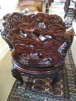 Antique Chinese Qing Dynasty Rosewood Throne Chair (2 of 10)