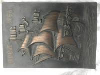 Antique Art Nouveau Marine Bronze Relief Wall Plaque Spanish Galleon Ship 1668 (12 of 21)