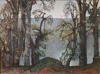 A watercolour by Samuel John Lamorna Birch RA  1869 - 1955 'A lake seen through trees' (4 of 4)