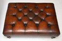 Antique Victorian Style Deep Buttoned Leather Stool (4 of 8)