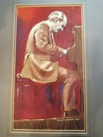 A pastel and watercolour of the Bebop Jazz pianist Joe Palin (3 of 4)