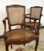 Vintage French Set of 6 Cherrywood Bergère Cane Dining Chairs with Carvers (5 of 14)