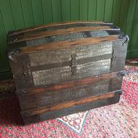 Antique Victorian Dome Top Steamer Trunk Old Gothic Travel Chest Metal Storage Box Steampunk Style (10 of 10)