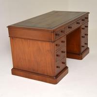 Antique Victorian Mahogany Leather Top Pedestal Desk (5 of 12)