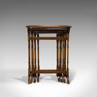 Antique Quartetto of Tables, English, Walnut, Mahogany, Nest, Edwardian, C.1910 (5 of 10)