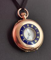 Antique 9ct Gold Half Hunter Pocket Watch, Blue Enamel (11 of 14)