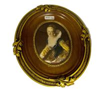 French Signed Portrait Miniature in Wood & Brass Frame c.1925 (5 of 8)