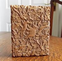 Rare Victorian Stunning Chinese Export Sandal Wood Carved Elephant Card Case (5 of 13)