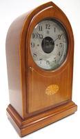 Fine Antique Bulle Electric Mantel Clock – Mahogany & Satinwood Case Mantle Clock (3 of 9)