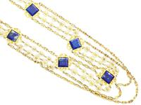 5.55ct Lapis Lazuli & 18ct Yellow Gold Necklace - Antique Victorian c.1870 (5 of 12)