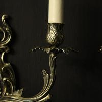 French Pair Of Twin Arm Antique Wall Lights (7 of 10)